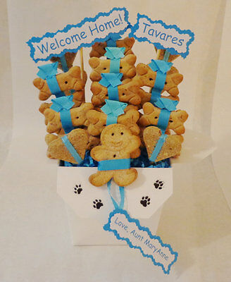 Dog treat gift basket, dog lovers,new puppy gift, dog get well gift,dog biscuits