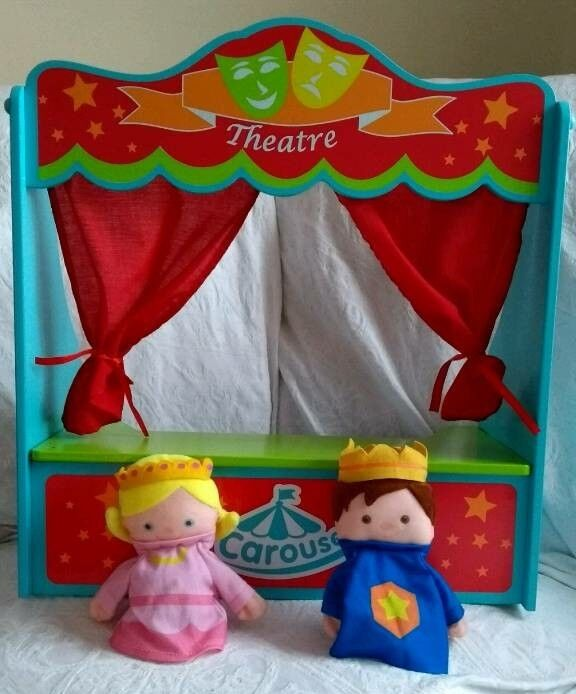 Carousel wooden puppet theatre with puppets toy