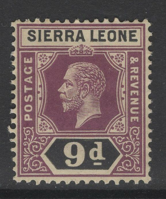 SIERRA LEONE SG121 1912 9d PURPLE & BLACK MTD MINT