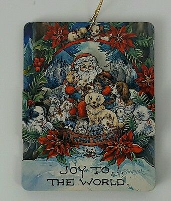 Jody Bergsma Ornament, Joy to the World, Santa with Puppies, Kitten, Hedgehog