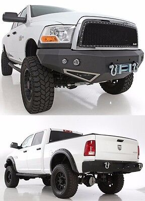 Smittybilt Front & Rear D-Ring Bumper Set w/ Light Kits 2010-2012 Dodge Ram 2500