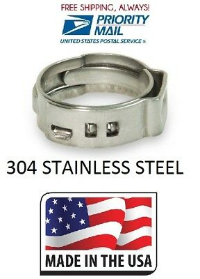 100 50 - 12 50 - 34 Pex All Stainless Steel Pinch Clamps Rings Usa