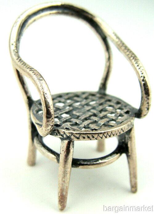 Miniature Sterling Silver Dollhouse Arm Chair #173