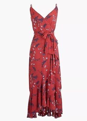 NWT J Crew Petite drapey ruffle faux-wrap dress Aztec floral print P0 0P J5856 Ruffle Faux Wrap