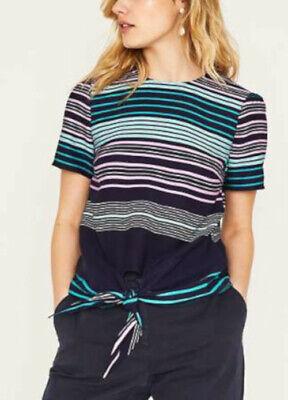 Oasis Size 12 Navy Blue Multi Stripe Print Tie Top Oasis Blue Stripe
