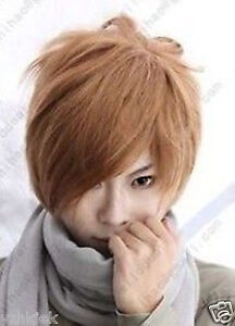 Death-Note-Light-Yagami-Short-Blonde-Brown-Cosplay-Wig-Free-GIFT