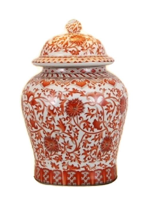 """Beautiful Orange/Coral And White Porcelain Chinoiserie Temple Jar 13"""""""