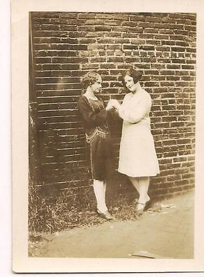 Fancy Flapper Fashion Girl Holds Her Friends Hands Sideways Glance 1920s Photo