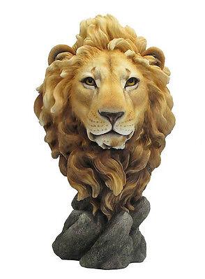"""15.5"""" Lion Head Bust Statue Figurine Wild Animal Safari Sculpture Jungle Decor"""