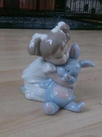 Lladro Nao - 1263 - Girl Holding Rabbit I Love So Much