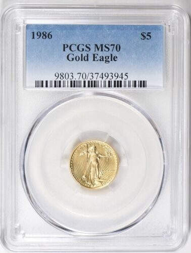 1986 $5 GOLD EAGLE PCGS MS70 LOW POP 84 COINS * FIRST YEAR