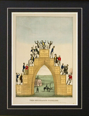 The Drunkards Progress Alcohol Temperance Society Print