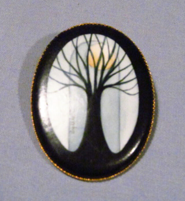 Hand Painted Signed Spooky Halloween Tree Full Moon Gold Metal Brooch Pin