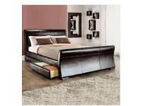 Kingsize real leather bed frame