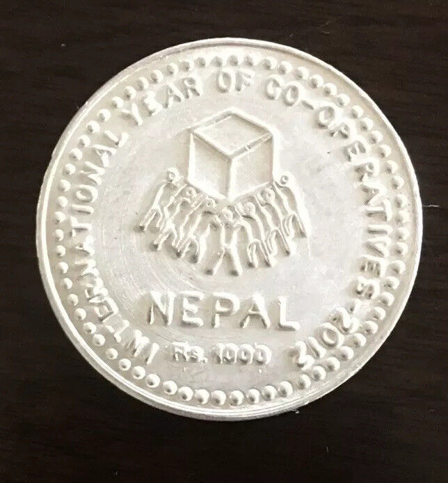 NEPAL International Year of Cooperation IYC Rs 1000 silver coin Km #1207 UNC
