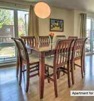 High dining room table with 8 chairs