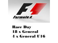 Tickets for F1 Sunday 8th General Admission and 4 x U16 GA