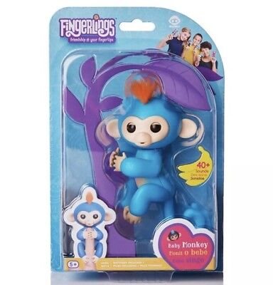 Authentic Fingerlings Boris Interactive Baby Monkey By Wowwee Blue With Pink