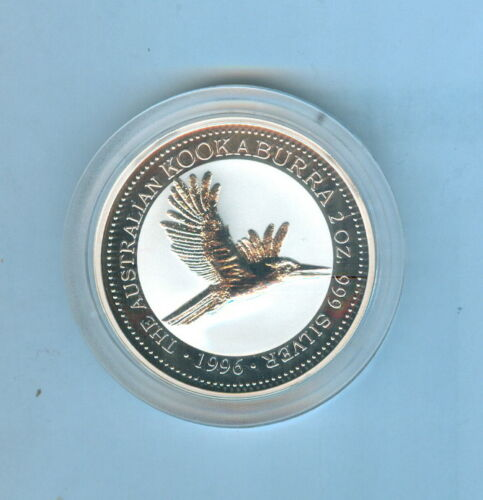 1996 KOOKABURRA AUSTRALIAN TWO DOLLARS 2 Oz. SILVER .999 - 1 COIN TOTAL