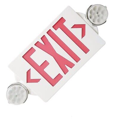 2pack Led Exit Sign Emergency Light Hi Output Red Compact Combo Ul