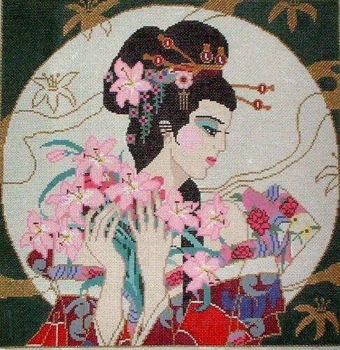 Pink Orchid Oriental Geisha Woman by Sophia HP Handpainted Needlepoint Canvas GJ