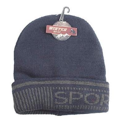 Fleece Print Beanie (Fleece Lined Knit Hat Beanie Warm Lined Sport Print Extra Warm Heat Holder)