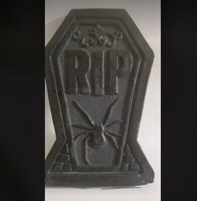 "16"" inch Prop GraveStone Party Halloween Tombstone Decoration Light Spooky Black"