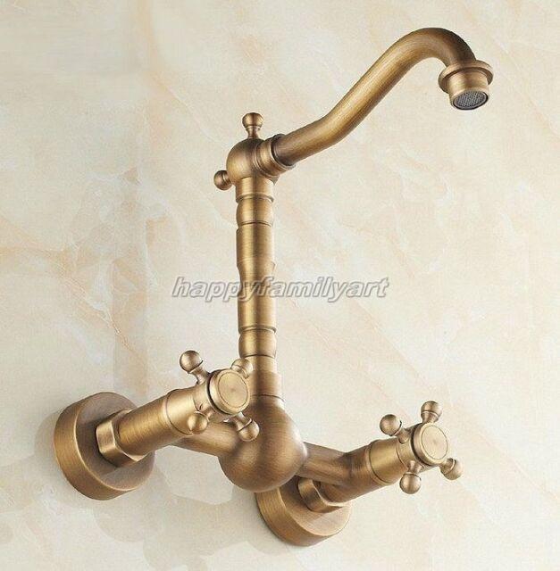 New Retro Antique Brass Wall Mount Kitchen Bath Mixer Tap Faucet ynf052