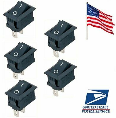 5 Pcs Black Onoff Switch Snap-in Connectors 12v 110v 250v Kcd1-101 Us Ship