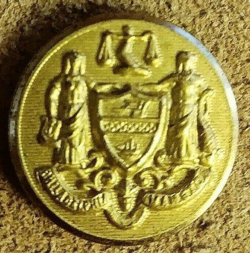 Philadelphia City Seal button 1870-1890 N. Snellenburg maker.