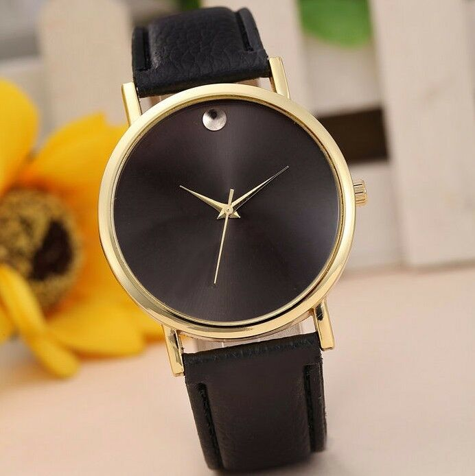 $13.99 - New Luxury Gold Stainless Black Leather Men Women Dress Fashion Quartz Watch