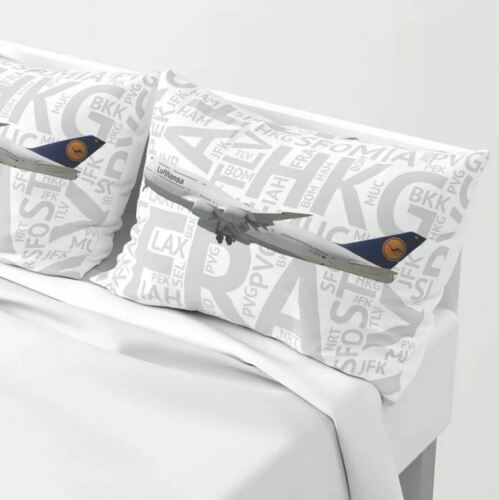 Lufthansa Boeing 747-8 with Airport Codes - Standard Set of Pillow Shams