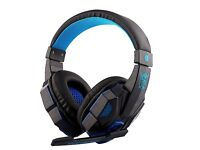 Professional Blue LED 3.5mm Noise Cancelling PC Gaming Headset / Headphones with MIC & Sound Shock