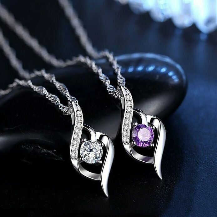 Jewellery - Women Crystal Stone Pendant Chain Necklace 925 Sterling Silver Jewellery Gift UK