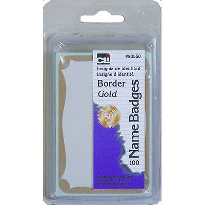 Bundle 1 Pkg Paper Name Badge 3-38x2-14 Gold Border 100bx 2 Black Sharpies