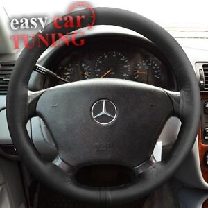 New mercedes ml w163 1997 2005 black real genuine leather for Mercedes benz steering wheel covers