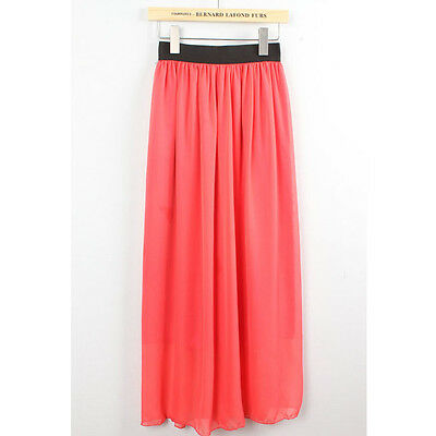 Hot sale New design Sexy Elegant two layer Chiffon Pleated Retro Long Maxi Skirt on Rummage