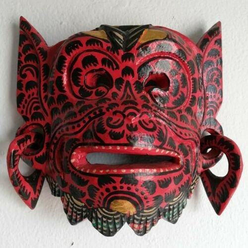 Wood Mask Balinese Red Hanuman Monkey Decorative Hand-Crafted Wall Decor Topeng