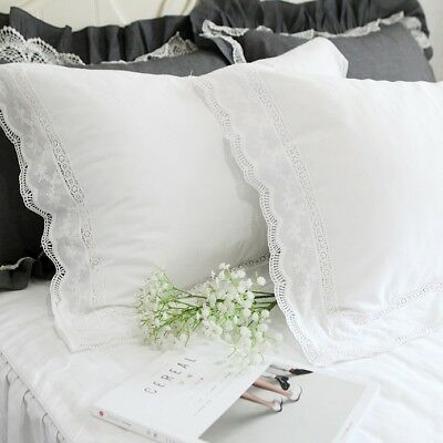 (Shabby Chic Satin Cotton Lace Pillowcase Sham White Cotton Standard Pillow Cover)
