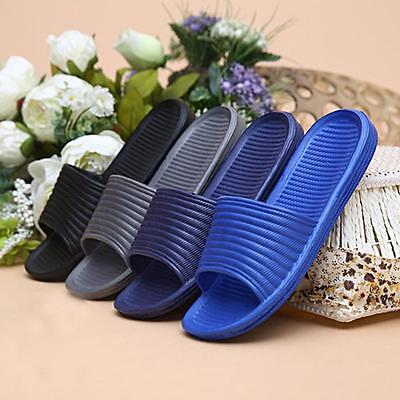 Man Stripe Flat Bath Slipper Summer Sandals Indoor & Outdoor Home Beach Slipper