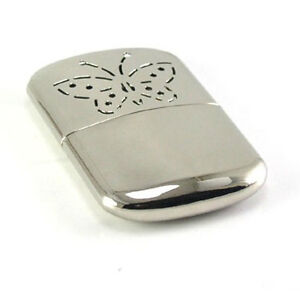 New Vintage/Antique Style Metal Hand Warmer & Cover Portable Silver Color Refill