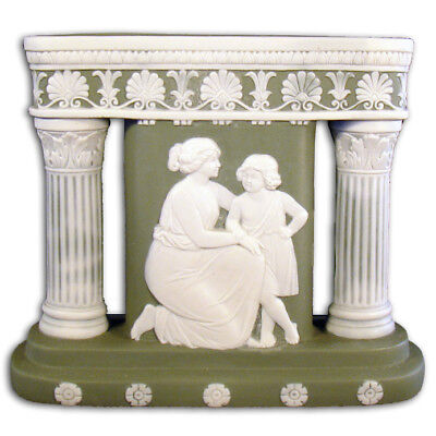 SCHAFER /& VATER Continental GERMAN Bisque Blue and White Parian Vase C1900