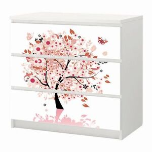 aufkleber f r ikea malm m beltattoo sticker 3 4 schubladen blumen baum 11 ebay. Black Bedroom Furniture Sets. Home Design Ideas