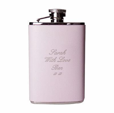 Personalised Pink Leather Hip Flask 3.5oz- Free Laser Engraving-Bridesmaid Gift!