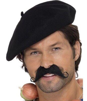 Herren Franzose Französisch Man Kostüm Barett Schwarz Neu von - Französisches Barett Kostüm