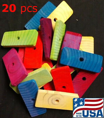 Large Colored Wood Slats Bird Toy Parts Parrot Toys for Cockatoo Macaw Amazon