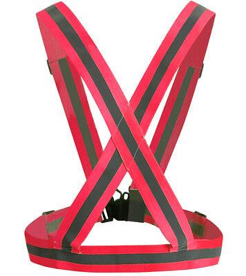 Red Adjustable Safety High Visibility Reflective Vest Jacket Gear Stripes Style