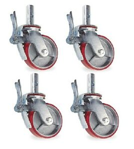 Set-of-4-Scaffold-Casters-with-8-x-2-Red-Polyurethane-on-Steel-Wheels-Brakes