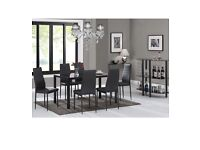 Black dining table & 6 chairs brand new & boxed