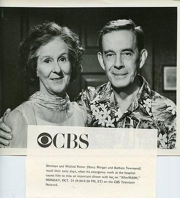 Harry Morgan Barbara Townsend Aftermash Original 1983 Cbs Tv Photo